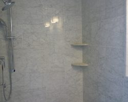 White Carrara Marble Shower Walls